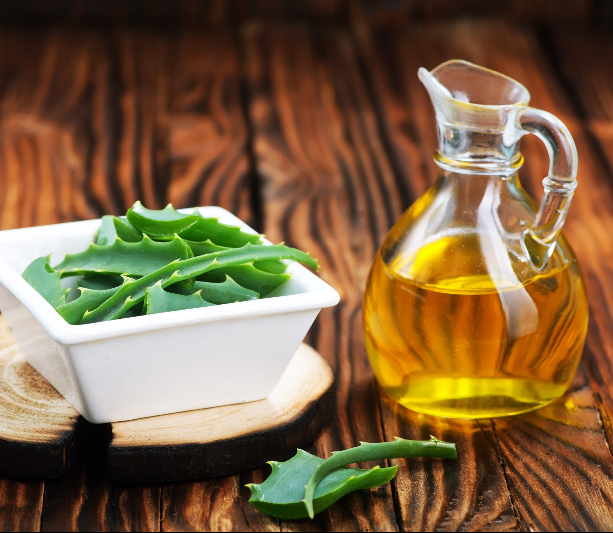 aloe vera and aroma oil in bottle